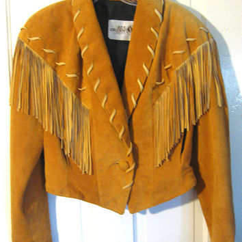80s Vintage Fitted Suede Fringed Jacket Sea Dreams Leather Braid Leather Bolero Jacket