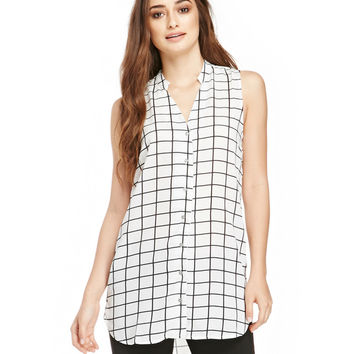 White Grid Print V-Neck Sleeveless Chiffon Blouse