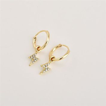 A Pair Stylish Personality Lightning  Hoop Earrings With Pendant Gold Shiny Crystal Earrings For Women As Gift  E390-T2