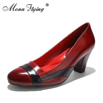 Women Genuine Leather Shoes Women Office Shoes 2017 Brand Round Toe High Heels women Dress Shoes for Women Plus Size Shoes 205-5