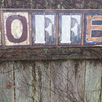 "Large 4-FT Rustic COFFEE Shop Store SIGN Wood Metal Letters 11-1/4""x48"" Distressed Burned Antiqued Home Business Wall Decor Man Cave"