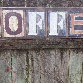 Large 4 Ft Rustic Coffee Sign Wood Metal Letters 11 1 X48 Distressed Bur