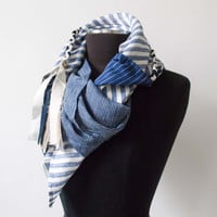 Fog Linen Work Patchwork Scarf Cloth L