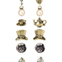 6 Pair SET Alice in Wonderland Stud Earrings
