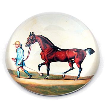 Bay Horse Walking with Rider English Artist James Seymour Glass Dome Desk Paperweight