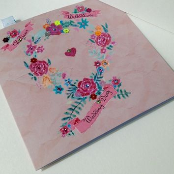 Wedding Greeting Card,Can Be Personalised,Handfinished,Handmade Card