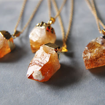 BLACK FRIDAY Citrine Necklace - Raw Citrine Gold Dipped Necklace - November Birthstone - Gifts under 25 - Autumn - Orange and Gold