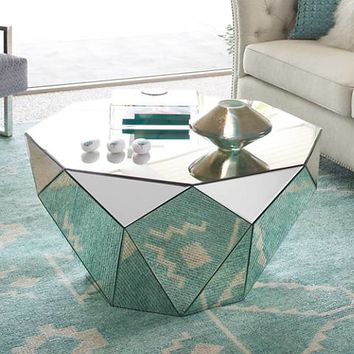 Aviano Mirrored Octagon Coffee Table - #11V11 | Lamps Plus