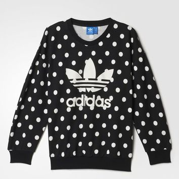 adidas Dots Allover Print Trefoil Sweatshirt - Black | adidas US