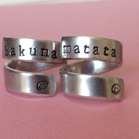 Hakuna Matata - Two Friendship Rings -  Aluminium Wrap Rings - Handed Stamped