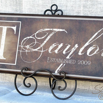 personalized family name sign canvas from scriptandstyle. Black Bedroom Furniture Sets. Home Design Ideas