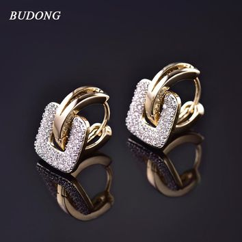BUDONG Unique Square Shaped Piercing Huggie Hoop Earring for Women Silver/Gold-Color 2 colors Earing Round Jewelry XUE218