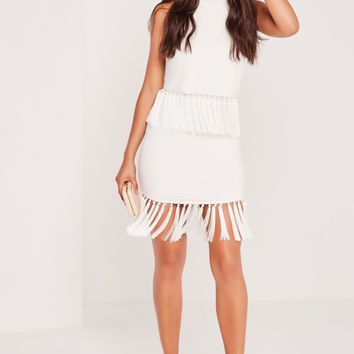 Missguided - High Neck Tassel Trim Bodycon Dress White