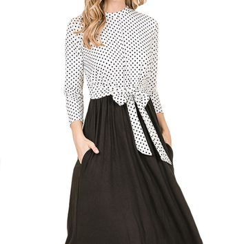 Polka Dot Contrast Midi Dress with Tie