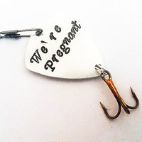 Pregnancy announcement fishing lure, we are pregnant, dad to be fishing lure, husband gifts for husbands custom fishing lure dad reveal