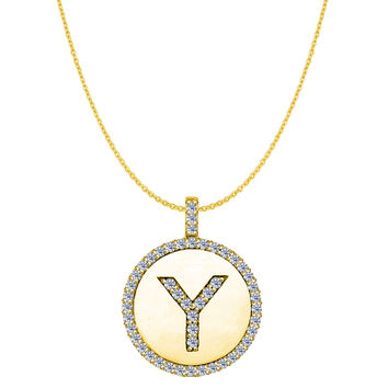 """Y"" Diamond Initial 14K Yellow Gold Disk Pendant (0.50ct)"
