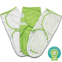 Ziggy Baby Swaddle Blanket Wrap Set, Grey/Green/White, 3 Pack