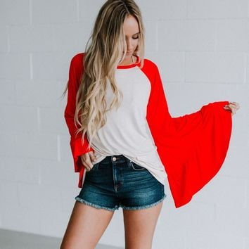 Bell Sleeve Baseball Tee - Stone Red