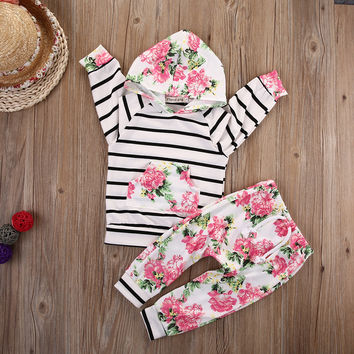 Cute Baby Girl Hooded Pullover Toddler Striped Top Kids Floral Pants Fashion Infant Autumn Outfits Infant 2pcs Clothing Set