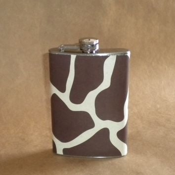 Super Cute Giraffe Print Girl Gift Stainless Steel 8 Ounce Hip Flask