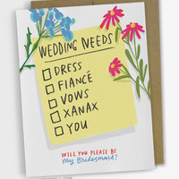 Wedding Needs Checklist Card