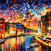 "Venice Grand Canal — PALETTE KNIFE Landscape City Oil Painting On Canvas By Leonid Afremov - Size: 40"" x 30"" (100cm x 75cm)"