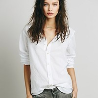 Free People Womens Solid Cotton Buttondown