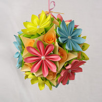 Flower Kusudama Origami paper ball by Waveoflight on Etsy