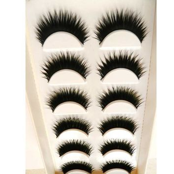 6 Pair Handmade  Natural  False Eyelashes
