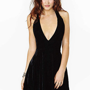 Black V Neck Haltered Velvet Mini Dress