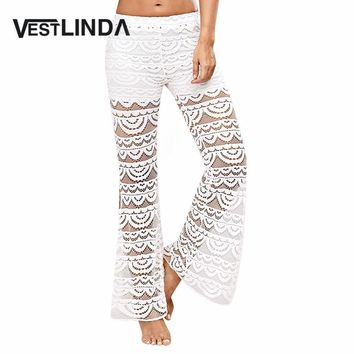 VESTLINDA Sexy See-Through Women White Lace Pants Summer 2017 Side Split Casual Beach Long Boho Pants Mid Waist Female Trousers
