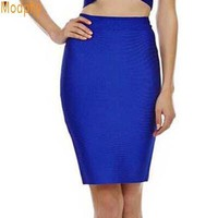 2017 Good Elastic Women Knee Length Celebrity Bandage Skirts Sexy Slim Solid Color Pencil Skirt Drop Shipping Hls113