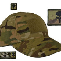 """USA Made Tactical Operator Cap with Punisher Skull """"Prepare for War"""" Patch Set - One Size Adjustable - Multicam"""