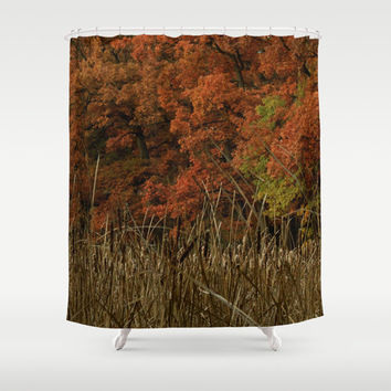 Shower Curtain - Lost in Vermillion - Rustic Decor - Boho - Nature Decor - Farmhouse Chic - Woodlands Decor - Red
