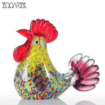 Tooarts Multicolor Rooster Figurine Glass Miniature Figurine Home Decor Animal Ornament Gift Glass Handicraft For Home Garden