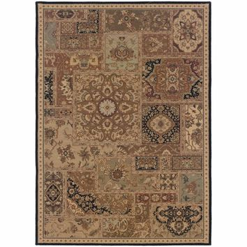 Nadira Beige Black Geometric Patchwork Traditional Rug