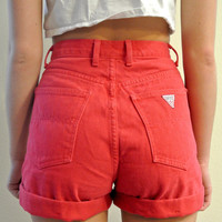 "High Waisted Shorts Red Guess Cuffed Vintage Shorts Milky Fr3sh ""Molly"""