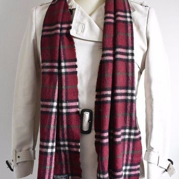 VTG BURBERRY LONDON 100% LAMBSWOOL MAROON RED NOVA CHECK SCARF ENGLAND UNISEX