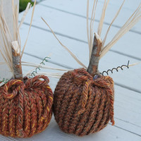 Knitted Pumpkins for Fall Decoration - Beautiful Primitive Pumpkin  for your Autumn Home Decor