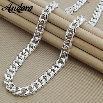 Men's 22'' 55cm 10MM Hip Hop Chain Necklace 925 Sterling Silver Jewelry Statement Necklace For Party N184