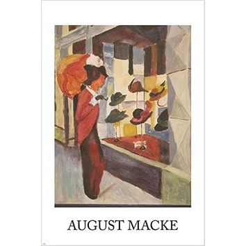 august macke VINTAGE ART POSTER cubist print SHOPPING FOR A HAT 24X36 rare