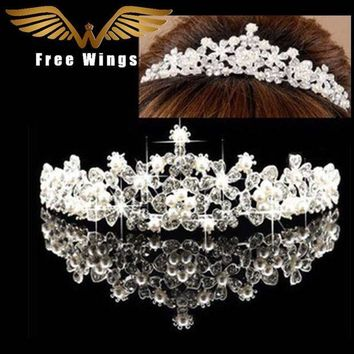 CREYCI7 Pearl Wedding Bridal Hair Accessories Bride Crown Tiara Hair Head Jewelry Tiaras And Quinceanera Crowns Headpiece Pins comb ABC