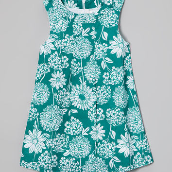 Rim Zim Kids Green & White Floral A-Line Dress - Infant, Toddler & Girls | zulily
