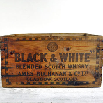 Vintage Rustic Wood Crate, Storage Box, Scotch Whiskey Crate, Industrial  Storage
