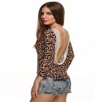 Women's Fashion Sexy Lace Long Sleeve Backless T-shirts [10467451540]