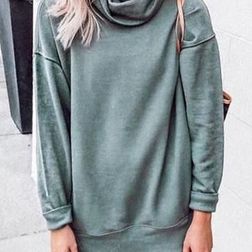 New Green Cowl Neck Long Sleeve Oversize Casual Sweatshirt