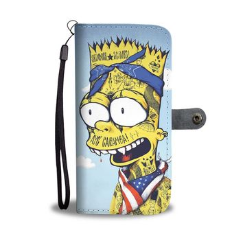 KUYOU Gangster Bart Simpson Skinner Stinks Wallet Phone Case