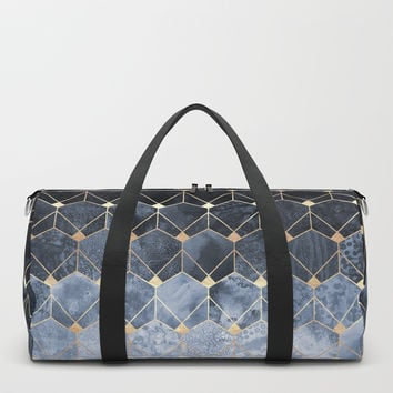 Blue Hexagons And Diamonds Duffle Bag by elisabethfredriksson