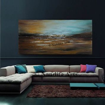"Extra Large Abstract Painting on Canvas by Nandita Albright - Teal Brown 72"" Landscape Painting Extra Large Wall Art, Contemporary Art Decor"
