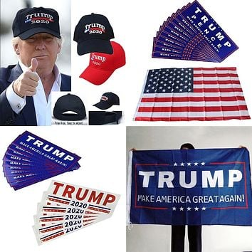 2020 Donald Trump for President Re-Election Keep America Great Again USA Flag New Cap Embroidery Baseball Hat Car Bumper Sticker
